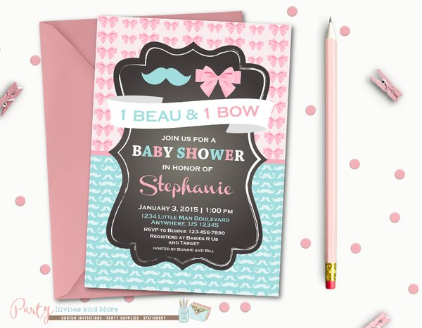 Twins Baby Shower Invitation Boygirl Baby Shower Invitation