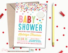 Rainbow Baby Shower Invitation with Hearts