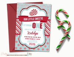Winter Birthday Invitation, Candy Cane Birthday Invitation, Holiday Birthday Invitation, Winter Onderland Birthday Invitation