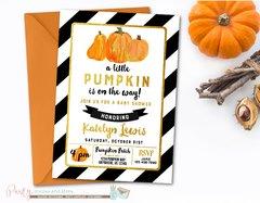 Pumpkin Baby Shower Invitation, Fall Baby Shower, Pumpkin Invitation, Fall Invitation, Black and Gold Baby Shower Invitation, Pumpkins