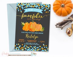 Pumpkin Baby Shower Invitation, Fall Baby Shower, Blue and Gold Pumpkin Invitation, Baby Shower Invitation, Blue and Gold Baby Shower