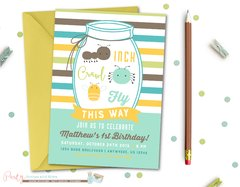 Bug Birthday Invitation, Bugs Birthday Invitation, Bug Invitation, Bug Birthday, Bug Birthday Party, Bugs, Insect, Mason Jar, Insects, Bugs