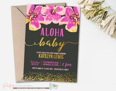 Aloha Luau Baby Shower Invitation with a Black Background and Pink Flowers