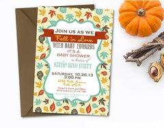 Fall Baby Shower Invitation, Fall Leaves, Fall Colors, Digital File, Autumn, Autumn Shower