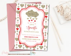 Baby Sprinkle Invitation, Valentine Baby Sprinkle, Hearts Baby Sprinkle, Valentine's Day, Hearts, Gold, Baby Shower, Baby Shower Invitation