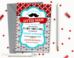 Little Man Baby Shower, Mustache Baby Shower, Mustache Bash, Little Man Shower, Baby Shower Invitation, Little Man, Mustache