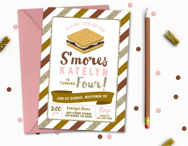 Smore Birthday Invitation S More Birthday Invitation S