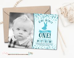 Bunny Birthday Photo Invitation, Spring Birthday Invitation, Easter Birthday Invitation, Blue Birthday Invitation, Boy Photo Birthday Invitation