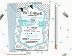 Nautical Baby Shower Invitation, Whale Baby Shower Invitation, Boy Baby Shower Invitation, Chevron Baby Shower Invitation, Whale Invitation