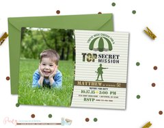 Camo Army Birthday Invitation with Photo
