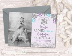 Winter Photo Birthday Invitation, Winter ONEderland Birthday Invitation, Snowflake Birthday Invitation, Winter Onderland