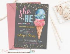 Ice Cream Gender Reveal Invitation, Ice Cream Gender Reveal, Ice Cream Invitation, Pink and Blue Ice Cream Gender Reveal Invitation