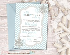 Snowflake Baby Shower Invitation, Winter Baby Shower Invitation, Chevron Baby Shower Invitation, Snowflake Invitation