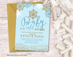 Snowflake Baby Shower Invitation, Winter Baby Shower Invitation, Baby It's Cold Outside Shower Invitation, Winter, Snowflakes, Blue and Gold