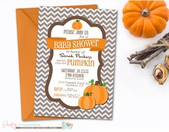 Pumpkin Baby Shower Invitation, Fall Baby Shower, Chevron Baby Shower, Baby Shower Invitation, Linen Shower Invitation, Pumpkins, Fall