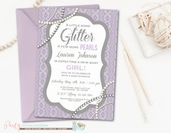 Pearls and Lace Baby Shower Invitation, Glitter and Pearls Baby Shower, Girl Baby Shower Invitation, Lavender Baby Shower Invitation, Purple