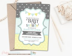 Gray Yellow and Baby Blue Clouds Baby Shower Invitation