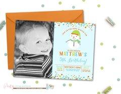 Snowman Photo Invitation, Snowman Birthday Invitation, Winter Birthday Invitation, Christmas Birthday Invitation, Blue and Green Winter Invitation