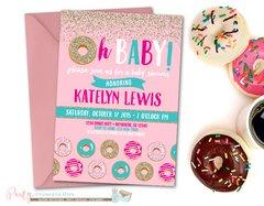 Donut Baby Shower Invitation, Donut Invitation, Baby Shower Invitation, Baby Sprinkle, Doughnut Baby Shower Invitaiton, Dounuts, Doughnut