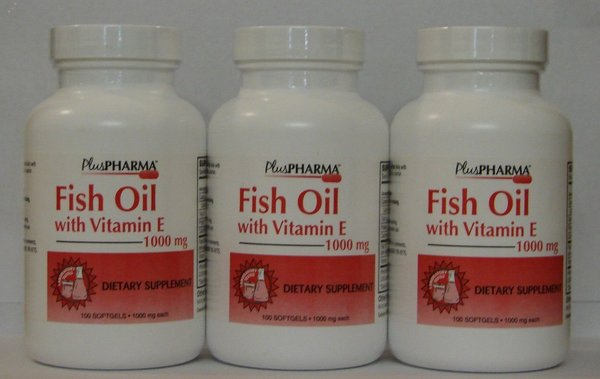 pluspharma fish oil with vitamin e 1000mg 100ct 3 pack