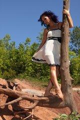 Beautiful Cream and Black Feminine Dress