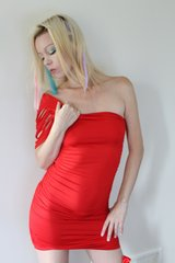 Red One Sleeve Sexy Holiday Party Club wear Dress - One Size Fits Most