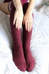 Burgundy Well Worn Thigh High Socks with Sports White Stripes