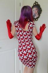 Club wear Red Black & White Skin Tight Dress - Size S/M.
