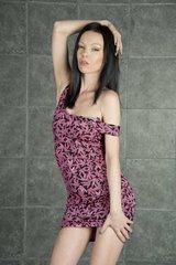 Dress - Ganja Black w Pink Leafs
