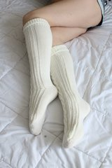 Cable Socks - Worn Knee High White