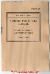 US ARMY FM 17-57 SUPPLY BATTALION ARMORED DIVISION - 1942