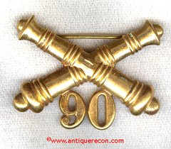 US ARMY 90th ARTILLERY ENLISTED COLLAR INSIGNIA - 1902-1905 ERA