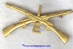 US ARMY 1st INFANTRY COMPANY E COLLAR INSIGNIA 1905-17 PATTERN