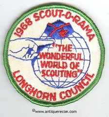 BSA LONGHORN COUNCIL SCOUT-O-RAMA 1968 PATCH
