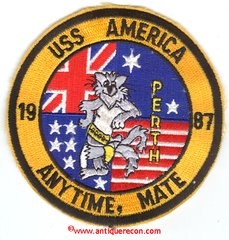 USS AMERICA CV-66 ANYTIME, MATE 1987 TOMCAT PATCH