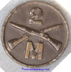 WW I US ARMY 2nd INFANTRY COMPANY M COLLAR DISK
