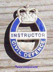 BRITISH CIVIL DEFENSE INSTRUCTOR PIN - POST 1952