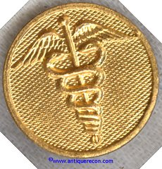 US ARMY MEDICAL CORPS ENLISTED COLLAR DISK - 1930's GILT