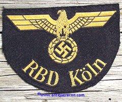 WW II GERMAN RBD KOLN RAILWAY ARM PATCH