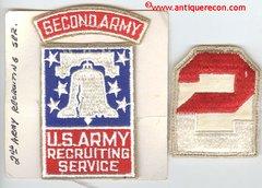 WW II US ARMY 2ND ARMY RECRUITING SERVICE & 2nd ARMY PATCH SET