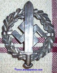 WW II GERMAN SA SILVER SPORTS BADGE - W. REDO