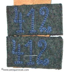 WW II GERMAN ARMY 412th INFANTRY SHOULDER BOARD SLIDES