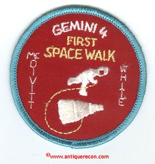 NASA GEMINI 4 MISSION PATCH - FIRST SPACE WALK