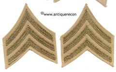 WW II US ARMY SARGENT STRIPES - CHAIN STITCH
