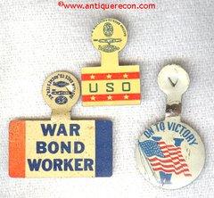 WW II US WAR BONDS BUTTONS (3)