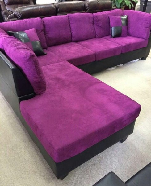 Purple microfiber sectional with black leather base | Discount ...