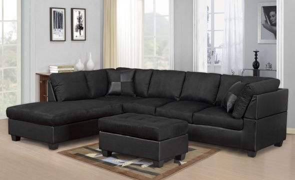 Black Microfiber Sectional With Black Leather Base