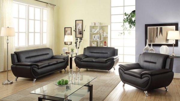 Black leather sofa set Atlanta Quality Furniture at Discount