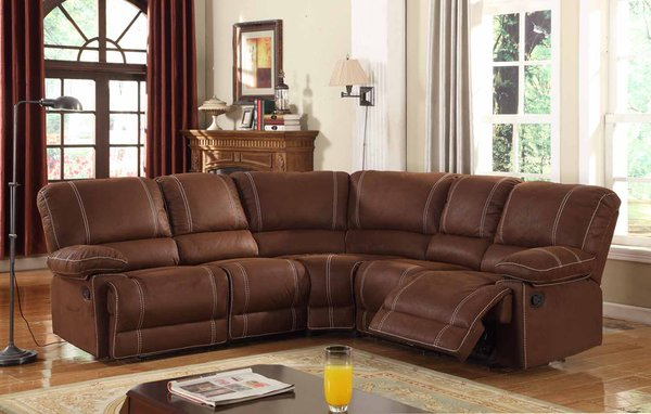 2139 brown microfiber reclining sectional discount for Affordable furniture atlanta