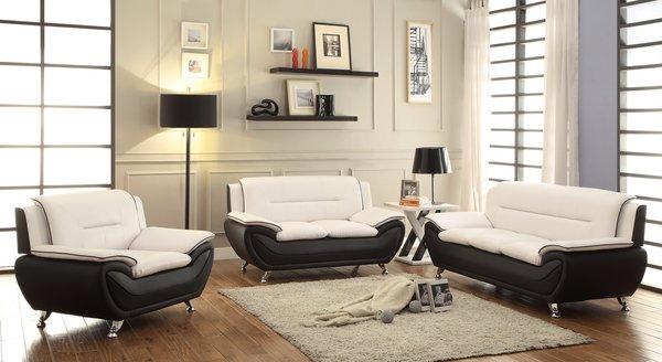Two-tone White & Black Leather Sofa Set